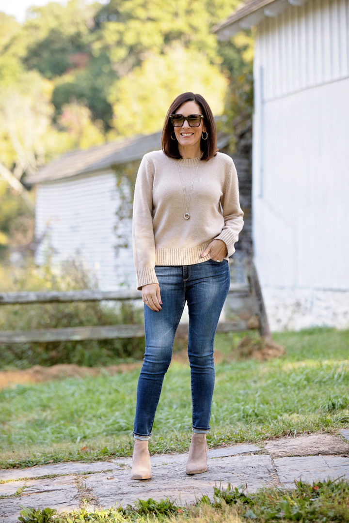 casual outdoor dining outfit for fall starting with a simple camel sweater and jeans