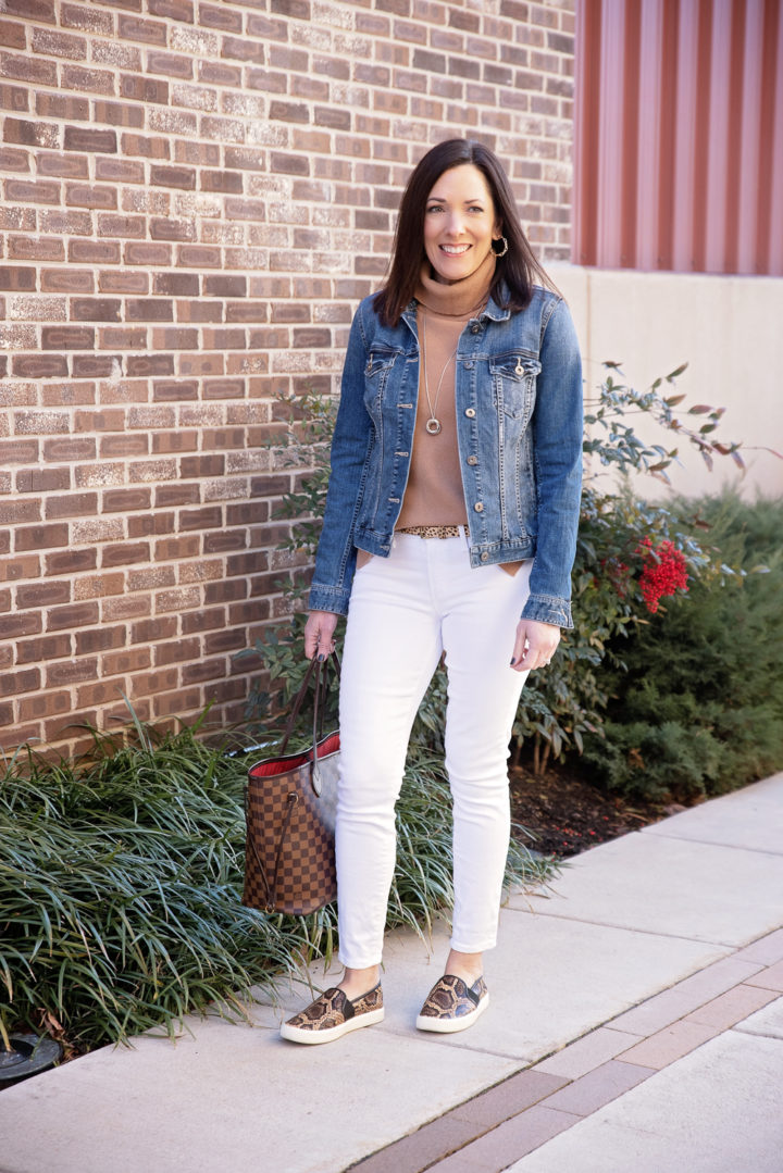 Camel Turtleneck Sweater + White Jeans for Fall