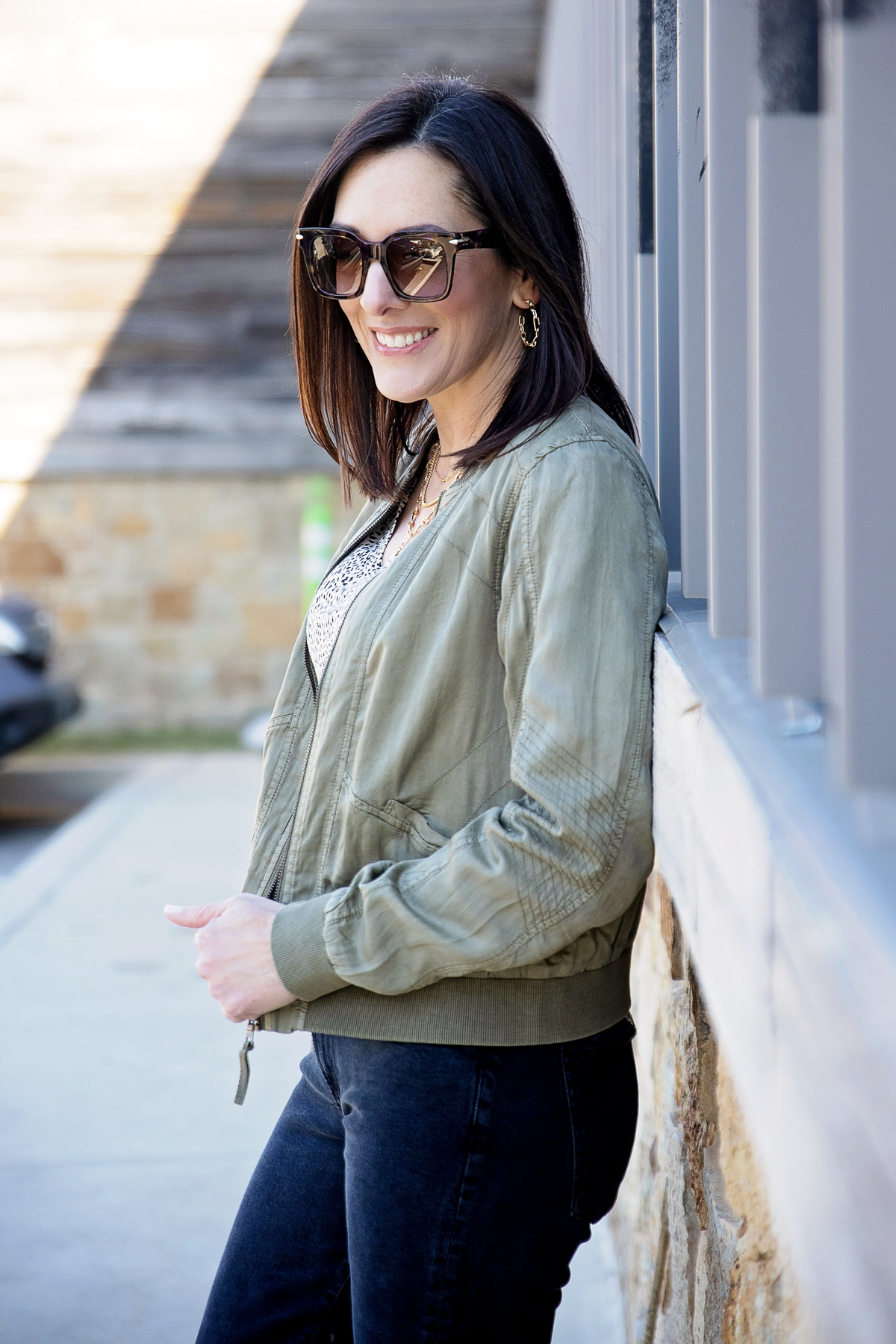 soft and silky olive green bomber jacket for spring