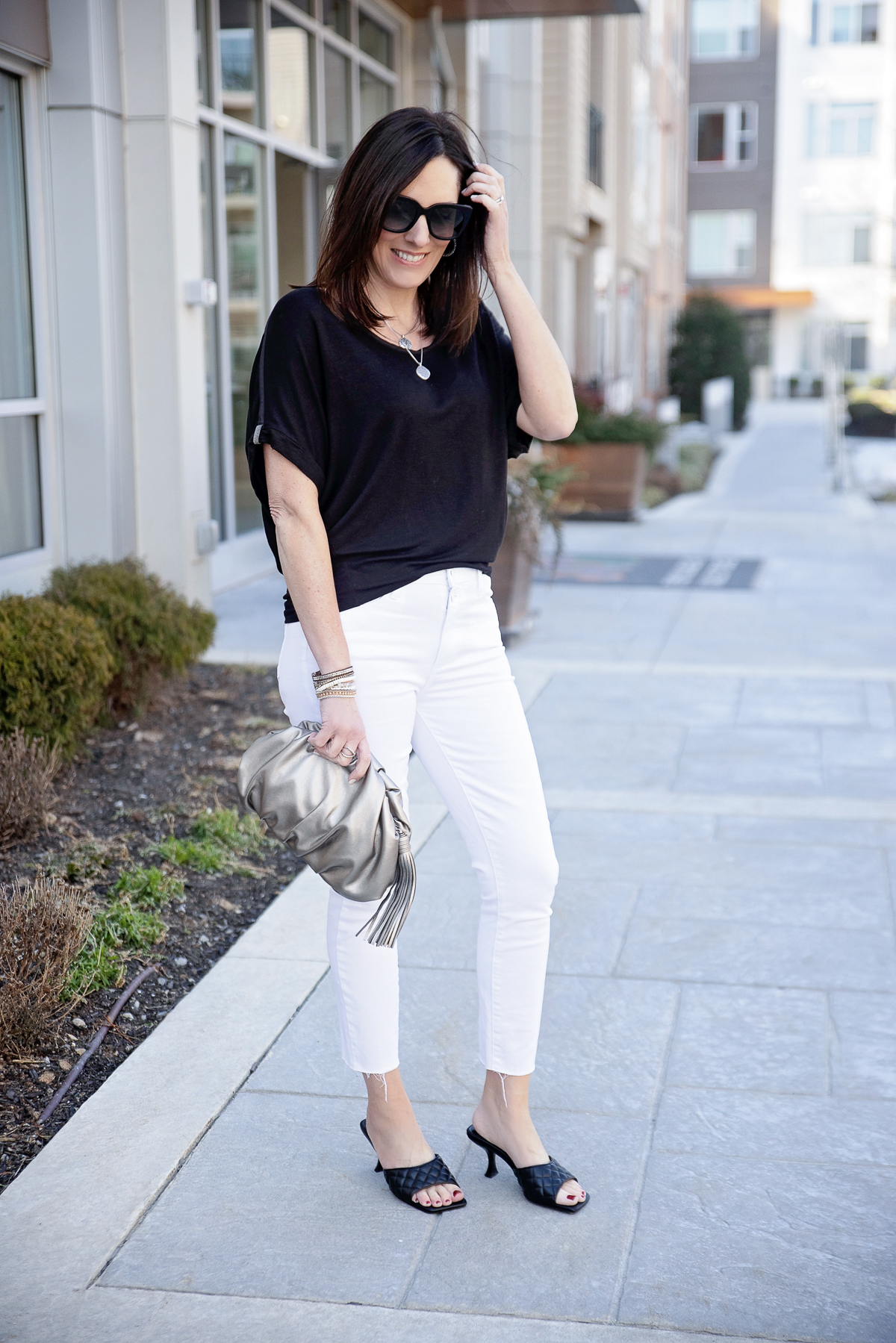 black and white date night look for spring
