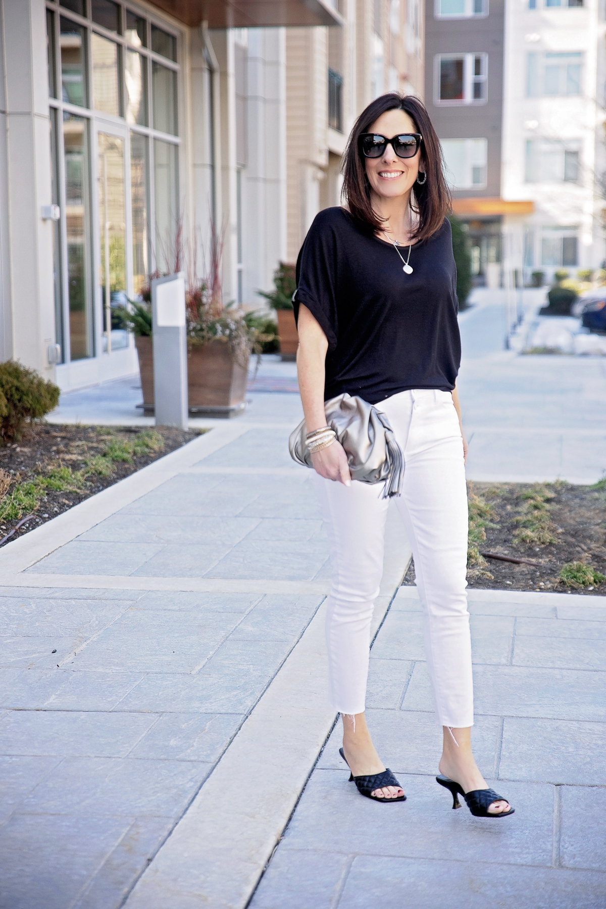 black and white date night outfit for spring