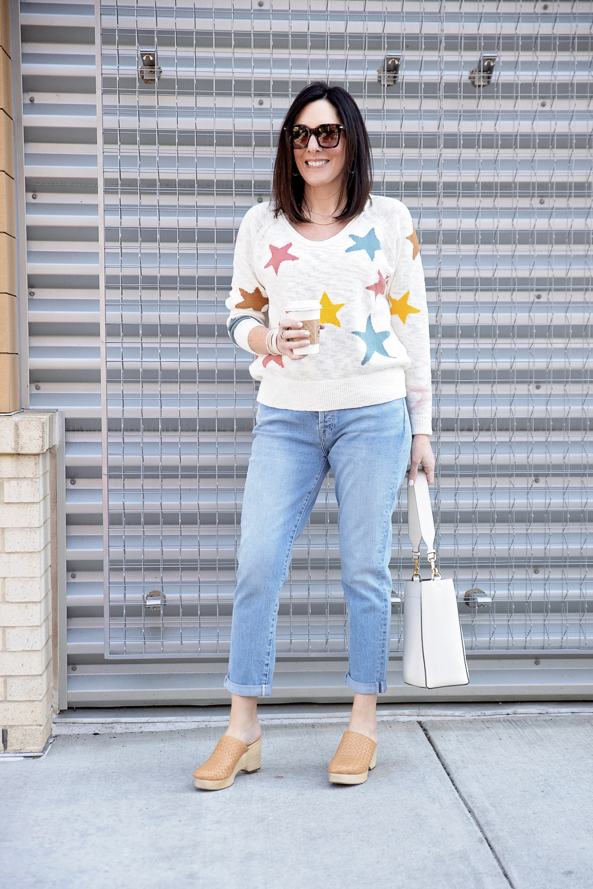 Spring Boyfriend Jeans Outfit with Clogs